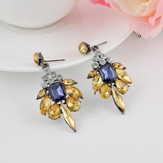 Yellow Blue Dangles Earrings - JewelryFruit