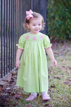 Green Polka Dot Smocked Easter Egg Dress