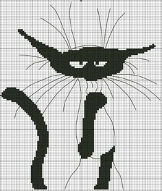 Картинка Whiskers and outline would be one bead-width? Cross Stitch Alphabet, Cross Stitch Animals, Counted Cross Stitch Patterns, Cross Stitch Embroidery, Cross Patterns, Mochila Crochet, Tapestry Crochet, Cat Pattern, Modern Cross Stitch
