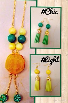 #yellow #green #tassel earrings and neckpiece