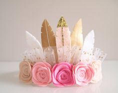 Pink ROSE FEATHER petite crown or clip pink by kireihandmade