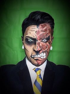 "Argenis Pinal transforms himself and his models into superheroes and Marvel comic characters. Argenis relies solely on the magic of makeup to transform himself into the heroes we read about. Don't believe these aren't drawings? Harvey ""Two-Face"" Dent."