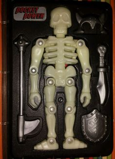 Pocket Power Glo-Bones glow in dark skeleton SEGA TYCO toy COMPLETE Halloween #SEGATYCO