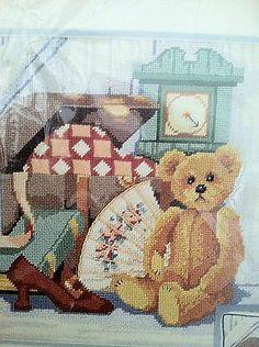 Elsa Williams Needlepoint Teddy Bear Grandma's Attic Children's Room Decor Rare