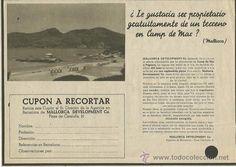 1935 CONSTRUCTORA MALLORCA DEVLOPMENT CAMP DE MAR RECORTE DE PRENSA VINTAGE…