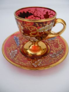 Moser Cranberry Cup & Saucer, Colored Enamel Oak Leaf & Insect Decoration