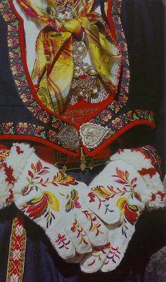 Copyright: Mittens and National Costume (bunad) from Tinn in Telemark County, Norway. Scandinavian Folk Art, Scandinavian Countries, Folk Clothing, Clothing And Textile, Norwegian Clothing, Norwegian Fashion, Traditional Art, Traditional Outfits, Folk Costume