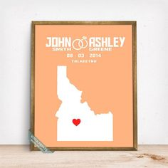 IDAHO CUSTOMIZED WEDDING MAP PRINT by Voca Prints! Modern customized wedding map poster with 42 background color choices. Great gift for anniversary and wedding.
