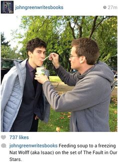 Nat Wolff and John Green oh my god Nat Wolff and John Green are the cutest ship ever! We need a ship name for them!