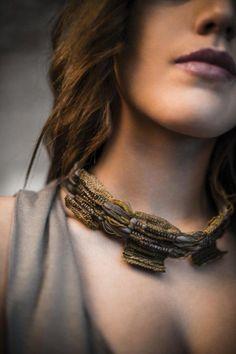 "Necklace | Ornella Marotta, Atelier Son Form.  ""Adolescent"" from the Femininity Collection.  Textile"