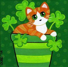 Orange Ginger Tabby CAT in Pot of SHAMROCKS Clover PRINT from Original Painting by Jill. $8.00, via Etsy.