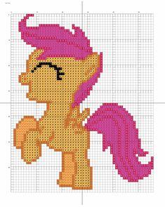 My Little Pony Scotaloo Hama Perler Bead Pattern by Stinne Arte My Little Pony, My Little Pony Craft, Cross Stitch Horse, Cross Stitch Charts, Cross Stitch Patterns, Pearler Bead Patterns, Perler Patterns, Cross Stitching, Cross Stitch Embroidery