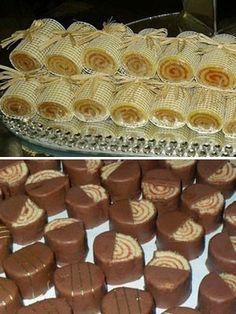 Bolo de rolo também já está nos outros doces do casamento (Foto: Dorinha Bolo de Rolo / Acervo pessoal) Cake Roll Recipes, My Recipes, Cookie Recipes, Fruit Tartlets, Truffle Recipe, Cake Mix Cookies, Instant Pudding, Chocolate Pudding, Mini Cakes