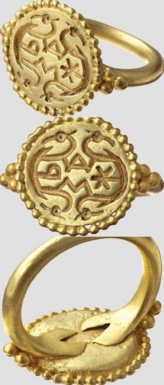 n Alemannic gold ring with religious symbols, 2nd half of 7th century .
