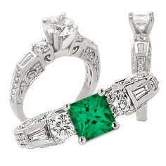 *18K lab-created 7mm princess cut emerald engagement ring with natural diamonds