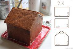 Vorlage für ein Lebkuchenhaus zum selbst basteln & backen.