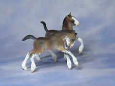 Custom CM Breyer Stablemate G2 Foals to Draft Foals x L. Elkjer****So CUTE***