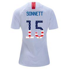 abad3e09b70 2018 19 Women s Emily Sonnett White Red USA Jersey Independence Day Soccer  City