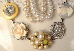 Vintage Yellow & Ivory Pearl Rhinestone and Cameo by AmoreTreasure, $41.99