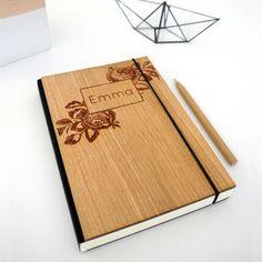 Personalised Wooden Rose Notebook