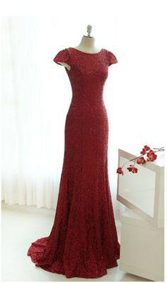 Dark Red Sequins Floor Length Cap Sleeve Party Dresses, Sequins Bridesmaid Dresses, Formal Dresses