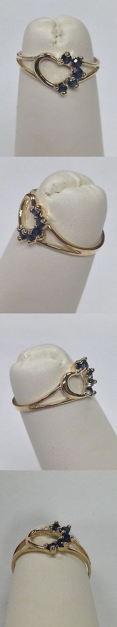 Rings 98477: Natural Sapphire Heart Ring For Children Solid 10Kt Yellow Gold -> BUY IT NOW ONLY: $60 on eBay!