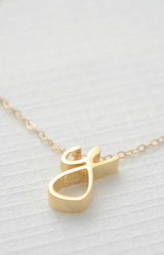 Gold Cursive Initial Necklace