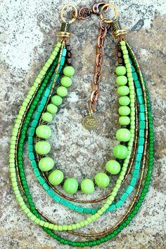 XO Gallery Jewelry — Green, Copper and Brass Multi-Strand Necklace