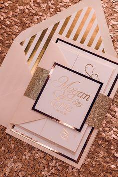 NICOLE Suite Fancy Glitter Package, rose gold foil, rose gold glitter wedding invitations, sparkling wedding invitations, calligraphy font, Foil envelope liner, foil stripes