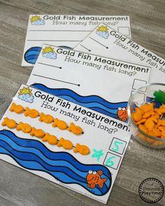 Cute Goldfish Measurement Activity for Kindergarten Math. Measurement Kindergarten, Measurement Worksheets, Kindergarten Math Activities, Fun Math Games, Learning Activities, Preschool Activities, Nonstandard Measurement, Number Activities, Maths