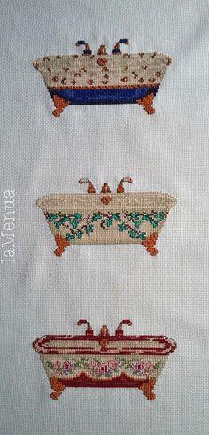 Bañeras punto de cruz - antiguas Bathroom Ideas, Stitch Patterns, Cross Stitch, Houses, Projects, Cross Stitch Kitchen, Embroidery Stitches, Pictures For Bathrooms, Dot Patterns