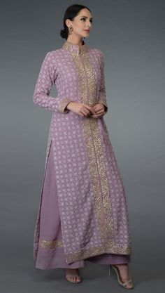 A classic Lilac colour pure georgette jacket with intricate hand embroidered chikankari work jaal all over and hand embroidered rose gold gota patti work borders along the front open panel, neckline, hemline and sleeve ends. The gota patti work b Designer Dress For Men, Indian Designer Suits, Designer Dresses, Indian Gowns, Indian Outfits, Indian Wear, Dress Neck Designs, Blouse Designs, Casual Dresses For Women