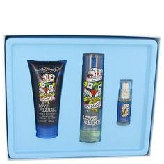 Love and Luck by Christian Audigier Gift Set 1.7 oz Eau De Toilette Spray 3 oz Hair and Body Wash .25 oz Mini EDT-Men
