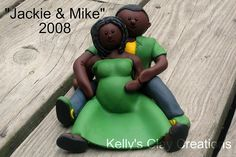 Custom couple pregnant lady cake topper