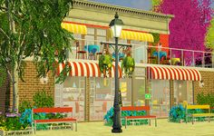 """lesyasun: """" Today I was building a business lot for my legacy. Welcome """"Cheesy Breezy"""" - a grilled cheese restaurant! Interior can be seen here :) """" As requested by anon I'm sharing the lot. I must..."""