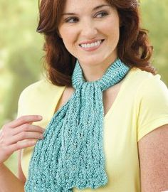 Lacy Knit Ascot  (Staying within the pattern, you could make it wider and longer for a scarf.) With just one skein of yarn, this Lacy Knit Ascot will become your favorite autumn accessory. Add a touch of color to your outfit with these easy knitting instructions. This is a great weekend project for the intermediate knitter.