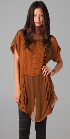 Game day with tights & boots....Free People Burnt Orange Tunic