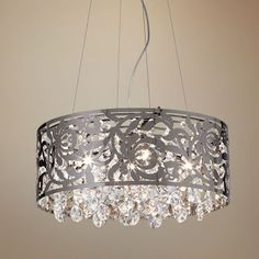 Black Nickel and Crystal Round Pendant Chandelier