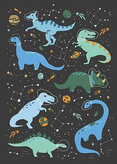 Whimsical illustration of blue and green dinos dressed as astronauts in outer-space with meteor showers, planets, and constellations. Inspired by my son's first birthday where I couldn't decide between a dinosaur or outer-space theme, so I chose both. Blue Framed Art, Framed Art Prints, Canvas Prints, Blue Art, Framed Artwork, Canvas Art, Wall Art, Dinosaur Wallpaper, Outer Space Theme