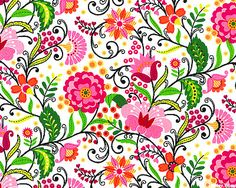 eQuilter Floral Whimsy - Folk Floral Fair - Raspberry