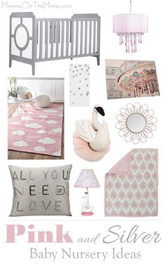 We have some darling ideas for decorating a pink and grey baby room with silver and sparkle and everything from swans to baby chandeliers.