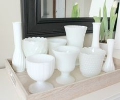 Vintage Dishes, Vintage Glassware, Milk Glass Vase, Displaying Collections, Glass Collection, Cheap Home Decor, Decorating Tips, Condo Decorating, Decoration