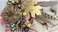 Looking for an quick & easy wreath for your front door? This burlap fall wreath is a perfect solution! Can be used for other seasons as well. Fall Wreath Tutorial, Fall Crafts, Diy Crafts, Burlap Garland, Burlap Projects, Fall Wreaths, Houseplants, Autumn Leaves, Home And Family
