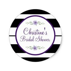Black, White, flower Bridal Shower Stickers