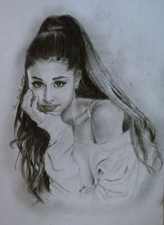 black and white sketch, anime girl drawing, ariana grande inspired drawing, long high ponytail Anime Girl Drawings, Pencil Art Drawings, Realistic Drawings, Cute Drawings, Drawing Sketches, Drawing Pin, Drawings Of Faces, Drawing Ideas, Sketching
