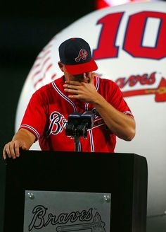 Chipper Jones Tribute Night ... Chipper pausing to regain his composure as he addresses his fans.