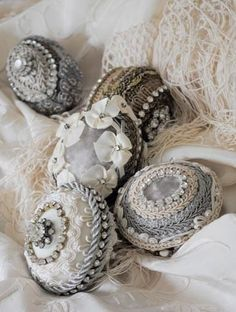 Beautifully detailed with various lace and trims ~❥