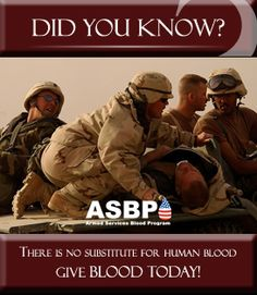 The Armed Services Blood Program (ASBP) plays a key role in providing quality blood products for Service members and their families in both peace and war. As a joint operation among the military services (Army, Navy, Air Force), the ASBP has many components working together to collect, process, store, distribute, and transfuse blood worldwide.  http://www.militaryblood.dod.mil/