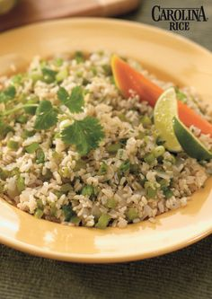 Green Chile Brown Rice: a delicious side dish and a great Cinco de Mayo recipe made with jalapeño peppers, lime juice, fresh cilantro and Carolina Whole Grain Brown Rice.