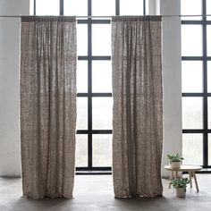 Our new range of luxury linen curtains are available ready-made as well as bespoke, and are the perfect finishing touch for your interior. Rod Pocket Curtains, Linen Curtains, Curtain Fabric, Bedroom Themes, Bedroom Decor, Bedrooms, Natural Curtains, Rustic Master Bedroom, Modern Rustic Decor